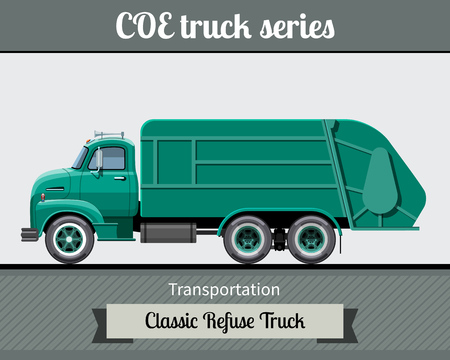Classic COE (cab over engine) refuse heavy duty truck side view. Vector illustration clipart