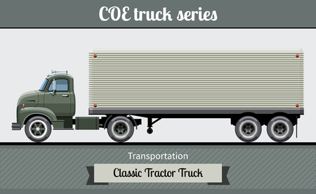 Classic COE (cab over engine) tractor trailer truck side view. Semi truck vector clipart illustration