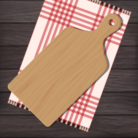 breadboard: Cutting board with gingham cloth on wooden background. Vector color illustration clipart Illustration