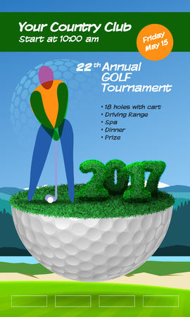 Golf player standing on golf ball. Golf course background. Vertical brochure template vector illustration clipart