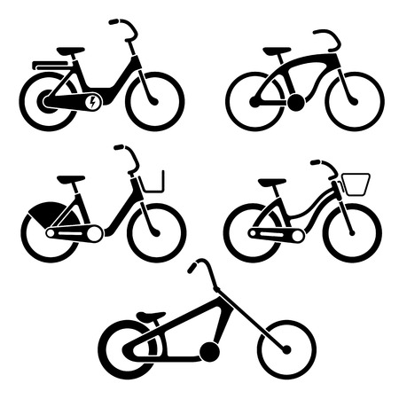 Black and white set of bicycles silhouette icons. Vector isolated clipart Illustration
