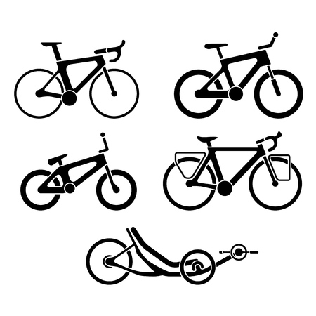 Black and white set of bicycles silhouette icons. Vector isolated clipart Ilustrace