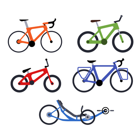 Color set of bicycles silhouette icons. Vector isolated clipart Ilustração