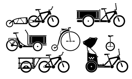 Black and white set of utility bicycles and tricycles silhouette icons. Vector isolated clipart Vettoriali