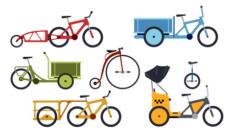 Color set of utility  bicycles and tricycles silhouette icons. Vector isolated clipart Illustration