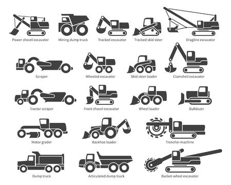 Jeu d'icônes de machines de construction. Chaque icône avec la description de l'étiquette de texte. Types de machines Earth Mover. Silhouette de vecteur sur fond blanc Vecteurs