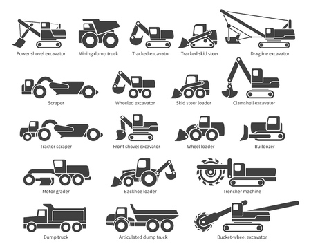 Construction machinery icons set. Each icon with text label description. Earth mover machine types. Vector silhouette on white background