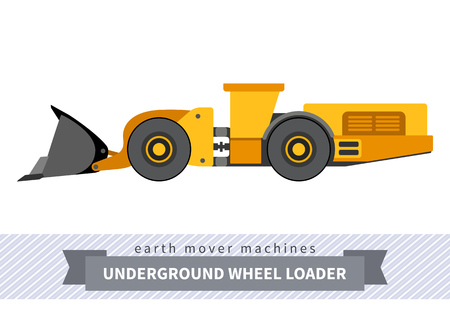 Underground wheel front loader. Heavy equipment vehicle isolated color vector illustration on white background