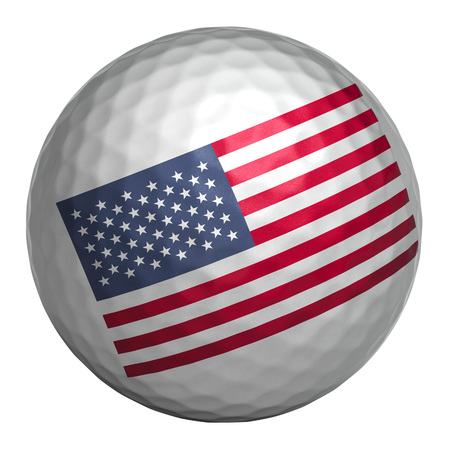 Golf ball with USA flag on white background. Isolated object. 3d illustration Stok Fotoğraf