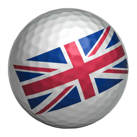 Golf ball with United Kingdom flag on white background. Isolated object. 3d illustration