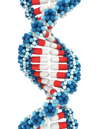 intertwined: Twisted stacks of medical pills in shape of DNA on white background. 3d isolated illustration Stock Photo