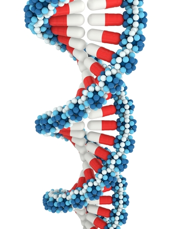 Twisted stacks of medical pills in shape of DNA on white background. 3d isolated illustration Stock Photo