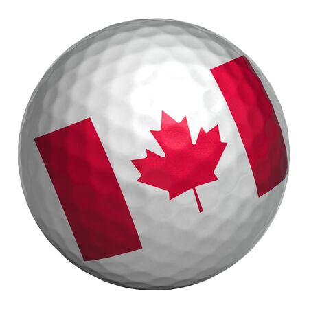 Golf ball with Canada flag on white background. Isolated object. 3d illustration
