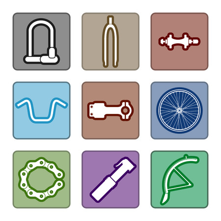 Icons set of bicycle parts and accessories on white background. Vector isolated illustration