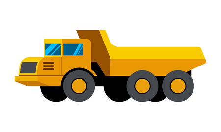 Articulated dump truck minimalistic icon isolated. Construction equipment isolated vector. Heavy equipment vehicle. Color icon illustration on white background.