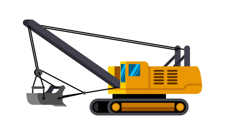 Dragline excavator minimalistic icon isolated. Construction equipment isolated vector. Heavy equipment vehicle. Color icon illustration on white background. Ilustrace