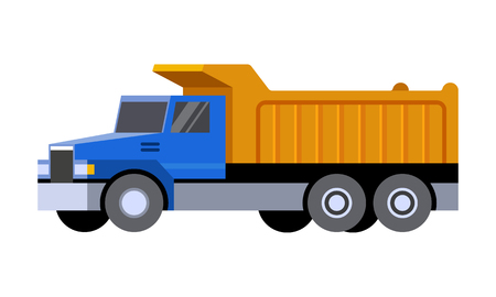 Dump truck minimalistic icon isolated. Construction equipment isolated vector. Heavy equipment vehicle. Color icon illustration on white background.