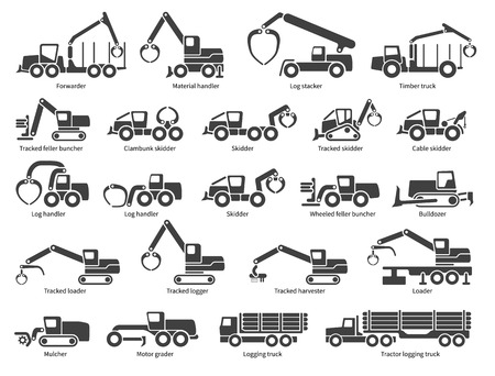 Forestry machinery icons set. Each icon with text label description. Forestry  machine types. Vector silhouette on white background