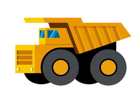 Mining dump truck minimalistic icon isolated. Construction equipment isolated vector. Heavy equipment vehicle. Color icon illustration on white background. Illustration