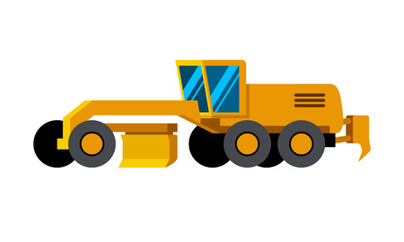 Motor grader minimalistic icon isolated. Construction equipment isolated vector. Heavy equipment vehicle. Color icon illustration on white background. Ilustração