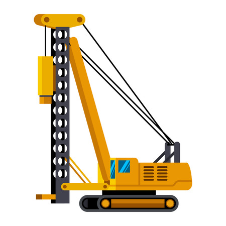 Pile driver minimalistic icon isolated. Construction equipment isolated vector. Heavy equipment vehicle. Color icon illustration on white background. Vettoriali