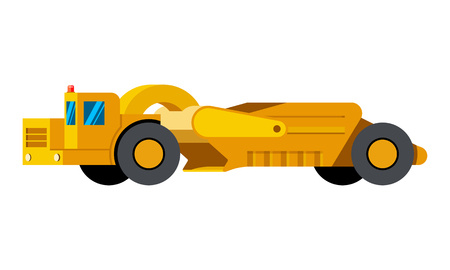 Scraper minimalistic icon isolated. Construction equipment isolated vector. Heavy equipment vehicle. Color icon illustration on white background. Illustration