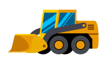 Wheeled skid steer loader minimalistic icon isolated. Construction equipment isolated vector. Heavy equipment vehicle. Color icon illustration on white background. Illustration