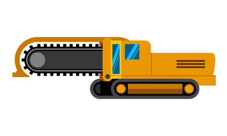 Track chain trencher machine minimalistic icon isolated. Construction equipment isolated vector. Heavy equipment vehicle. Color icon illustration on white background. Stock Vector - 94307618