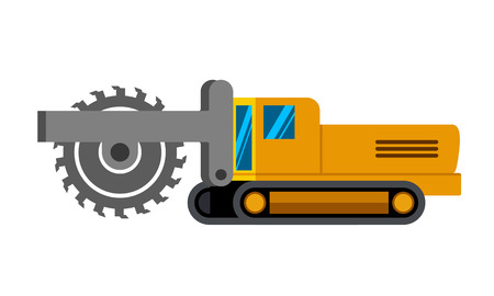 Wheel trencher machine minimalistic icon isolated. Construction equipment isolated vector. Heavy equipment vehicle. Color icon illustration on white background.