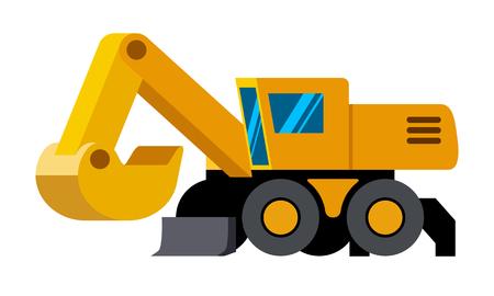 Wheeled excavator minimalistic icon isolated. Construction equipment isolated vector. Heavy equipment vehicle. Color icon illustration on white background.