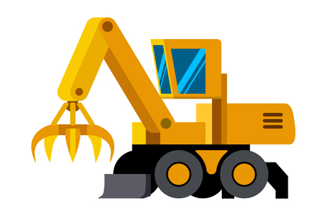 Wheeled material handler machine minimalistic icon isolated. Construction equipment isolated vector. Heavy equipment vehicle. Color icon illustration on white background.