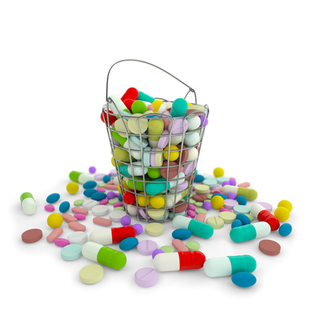 Heap of various drug pills capsules and tablets in iron basket container. Colorful pharmaceutical drugs on white background. 3d isolated illustration