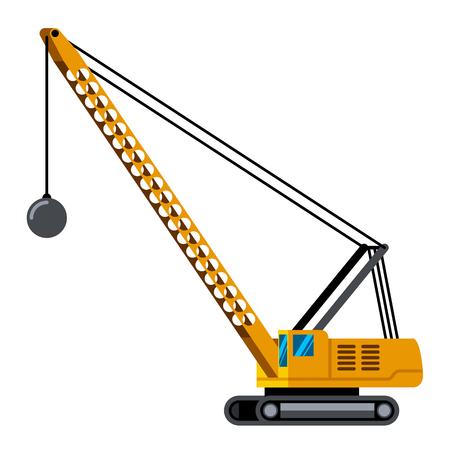 Demolition crane machine minimalistic icon isolated vector illustration Иллюстрация
