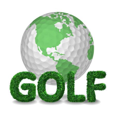 Golf ball like earth globe sphere for golf traveling. Vector isolated illustration