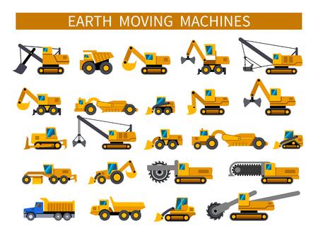 Máquinas de movimiento de tierras. Conjunto de iconos de maquinaria de construcción. Tipos de vehículos de movimiento de tierra. Iconos de silueta de vector sobre fondo blanco Ilustración de vector