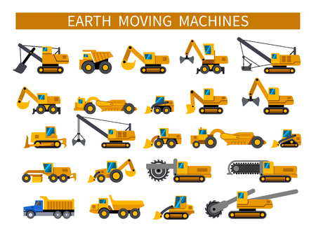 Earthmoving machines. Construction machinery icons set. Earth mover vehicles types. Vector silhouette icons on white background