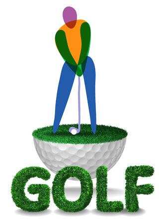 Golfer player and golf text textured with grass on half golf ball with grass. Vector isolated illustration