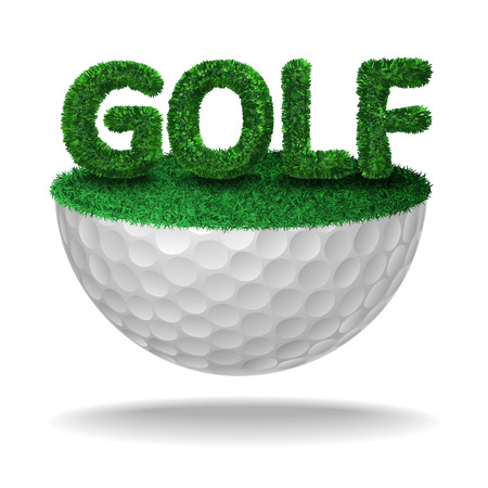 Golf text textured with grass on half golf ball Vector isolated illustration