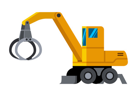 Wheeled timber handler minimalistic icon isolated. Forestry equipment isolated vector. Heavy equipment vehicle. Color icon illustration on white background. Иллюстрация
