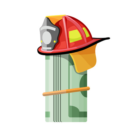 Firefighter hat on roll of money Vector isolated illustration