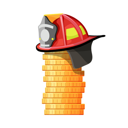 Firefighter hat on stack of coins. Vector isolated illustration Иллюстрация