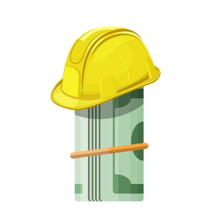 Yellow hard hat on roll of money. Vector isolated illustration Иллюстрация