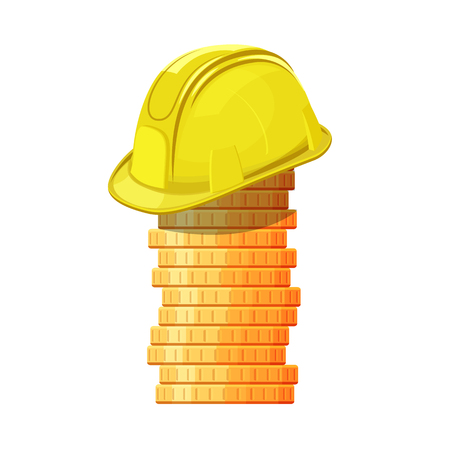 Yellow hard hat on stack of coins. Vector isolated illustration