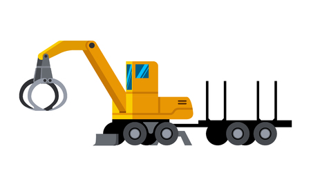 Wheeled timber handler with trailer minimalistic icon isolated. Forestry equipment isolated vector. Heavy equipment vehicle. Color icon illustration on white background.