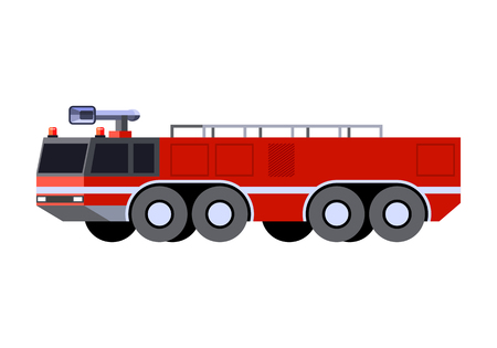 Minimalistic icon airport crash tender front side view. Fire truck emergency vehicle. Vector isolated illustration Иллюстрация