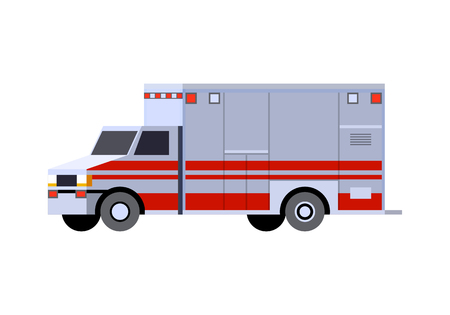 Minimalistic icon emergency truck. Ambulance vehicle front side view. Vector isolated illustration.
