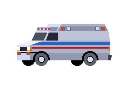 Minimalistic icon emergency van. Ambulance vehicle front side view. Vector isolated illustration. Иллюстрация