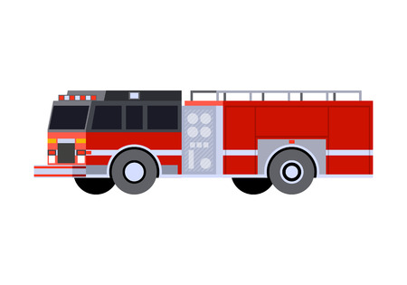 Minimalistic icon fire engine front side view. Fire truck emergency vehicle. Vector isolated illustration
