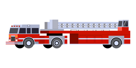 Minimalistic icon fire truck tractor ladder front side view. Fire truck emergency vehicle. Vector isolated illustration.