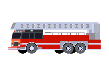 Minimalistic icon fire truck ladder front side view. Fire truck emergency vehicle. Vector isolated illustration. Иллюстрация